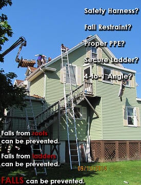 Ladder Safety Fail - Falls can be prevented.